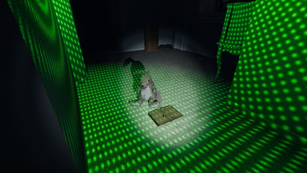 phasmophobia exposition update weekend wrap-up awoken too soon: bunny plushie sits in dot grid beside an open journal